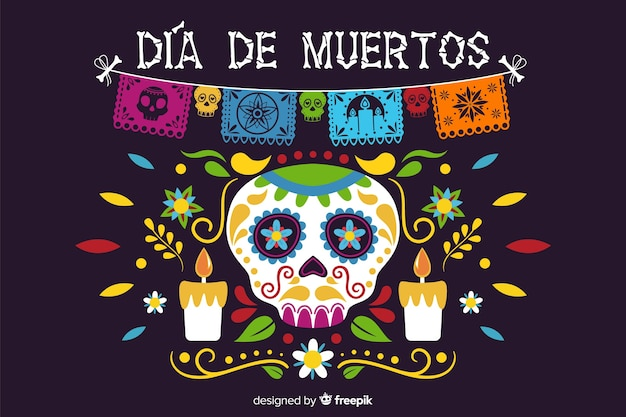 Flat día de muertos with skull and candles background