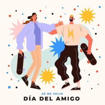 Flat dia del amigo-20 dejulioイラスト