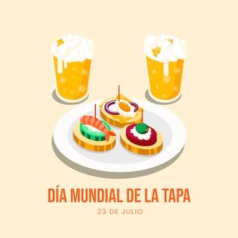 Piatto dia mundial de la tapa illustrazione