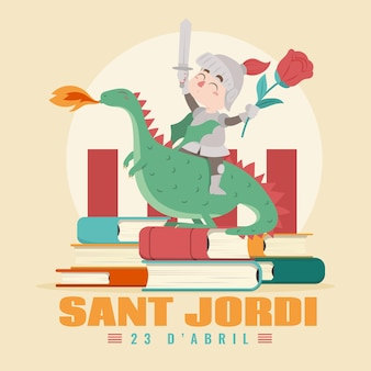 Flat diada de sant jordi illustration with knight and dragon
