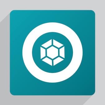 Flat diamond icon, white on green background
