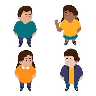 見上げるフラットの異なる人々