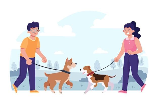 Persone diverse piatte con animali domestici