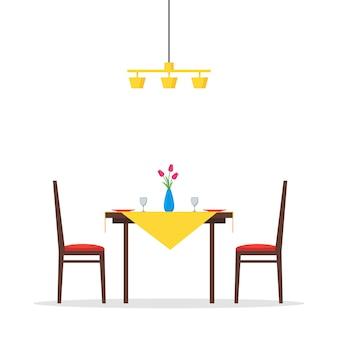 평평한 식탁과 의자