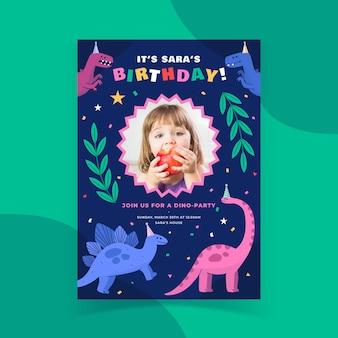 Flat dinosaur birthday invitation template with photo