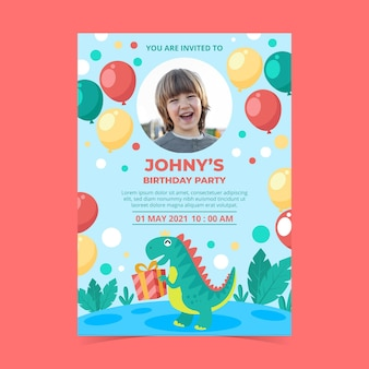 写真付きフラット恐竜の誕生日の招待状のテンプレート