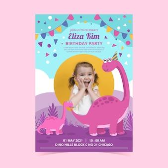 Modello di invito compleanno dinosauro piatto con foto