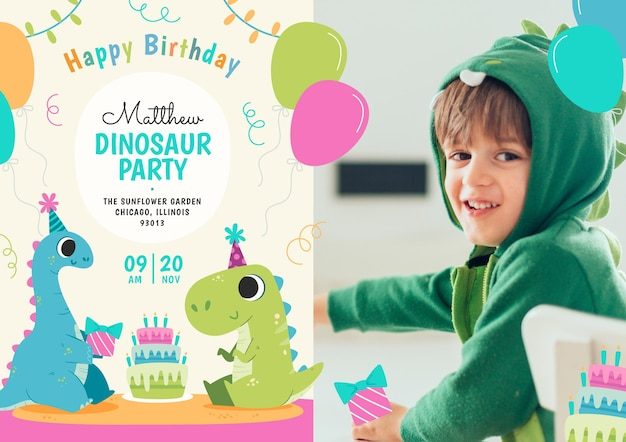 Flat dinosaur birthday invitation template with photo