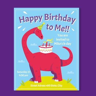 Flat dinosaur birthday invitation template