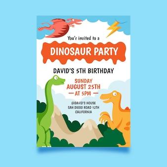 Modello di invito compleanno piatto dinosauro