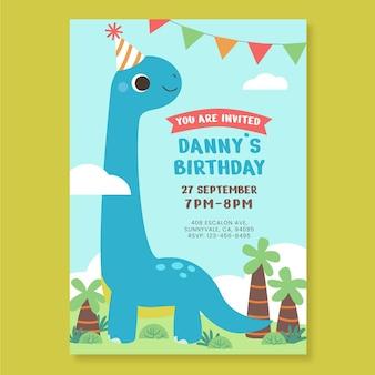 Плоский шаблон приглашения на день рождения динозавра