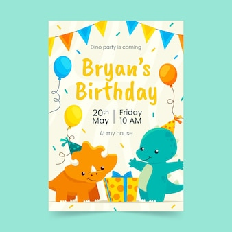 Flat dinosaur birthday invitation template