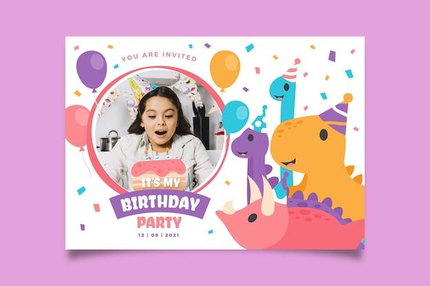 写真付きフラット恐竜の誕生日の招待状