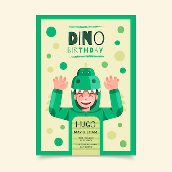 Flat dinosaur birthday invitation