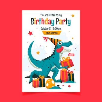 Flat dinosaur birthday invitation