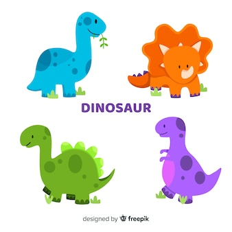 Flat dinosaur collection
