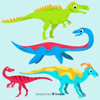 Flat dinosaur collection