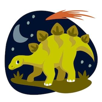 平らな恐竜のイラスト