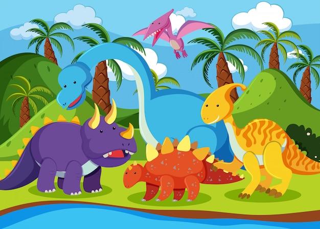 Flat dinosaur in nature