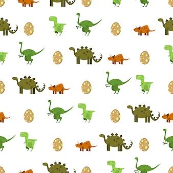 フラットの恐竜と卵の白い背景の上のシームレスなパターン。印刷用壁紙、ラッピング、パッキング、背景のテクスチャ。