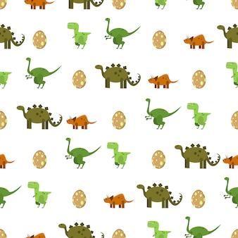 Flat dinosaurs and egg   seamless pattern on a white background. texture for print wallpaper, wrapping, packing and backdrop.