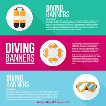Piatti elementi immersione set banner