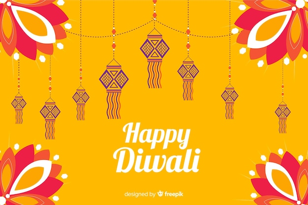 Flat diwali background on orange background