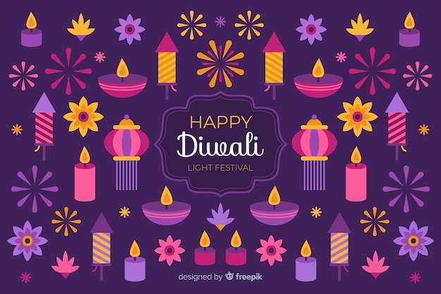 Flat diwali background and variety of candles