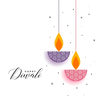 Flat diwali background with decorative diya