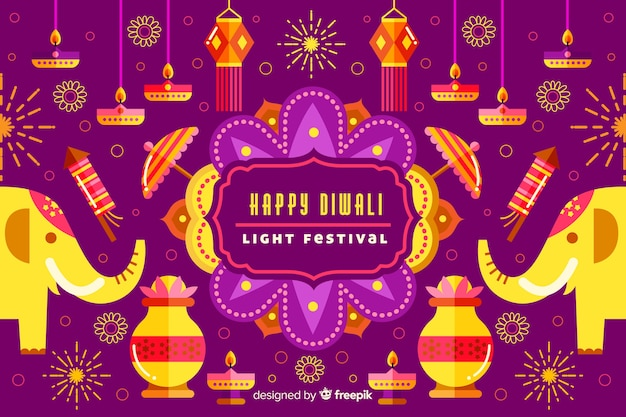 Flat diwali background with elephants