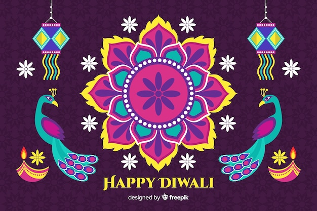 Flat diwali background with floral design and peacocks