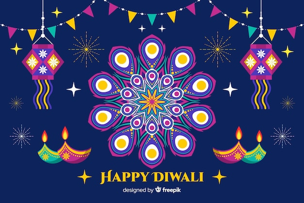 Flat diwali background with garlands and candles