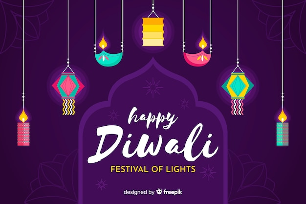 Flat diwali background with traditional ornaments