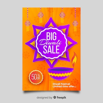 Flat diwali sale flyer template and abstract sun design