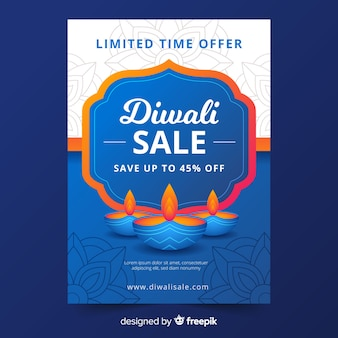 Flat diwali sale flyer template in blue shades with candles