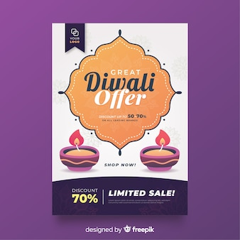 Flat diwali sale flyer template and candles
