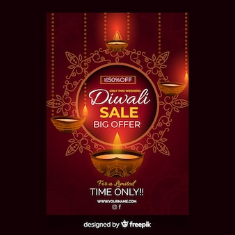 Flat diwali sale flyer template and candles Free Vector