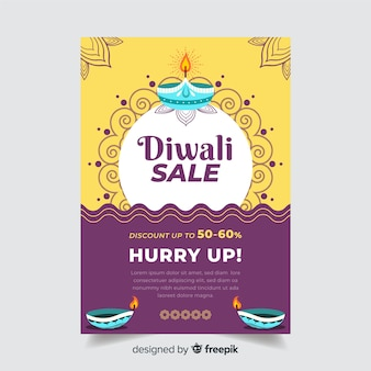 Flat diwali sale flyer template and ornamental sun and waves