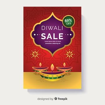 Flat diwali sale flyer template