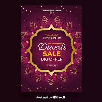 Flat diwali sale flyer template