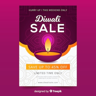 Flat diwali sale poster template and candle
