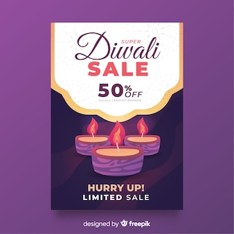 Flat diwali sale poster template and candles