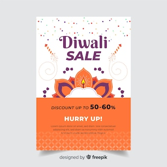 Flat diwali sale poster template and hurry up text