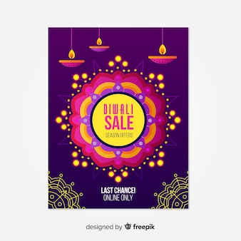 Flat diwali sale poster with candles
