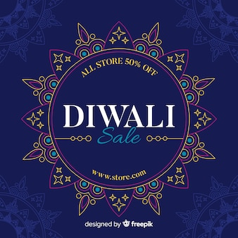 Flat diwali sale with abstract sun design