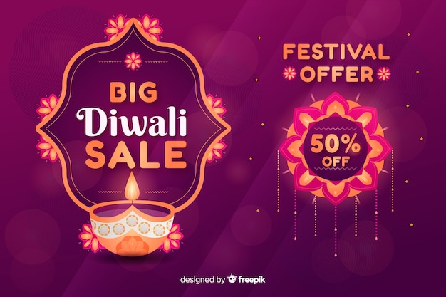 Flat diwali sale with candle