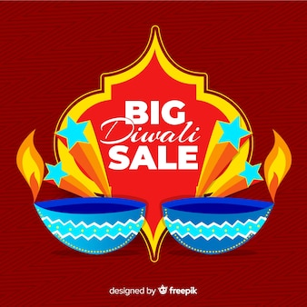Flat diwali sale with candles on red background