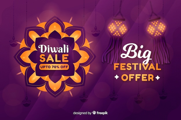 Flat diwali sale with lanterns
