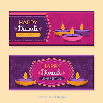 Flat diwali web banners and candles