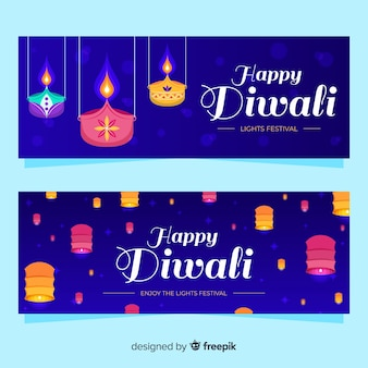 Flat diwali web banners with traditional ornaments